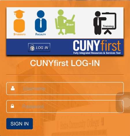 Enter CUNYfirst credentials