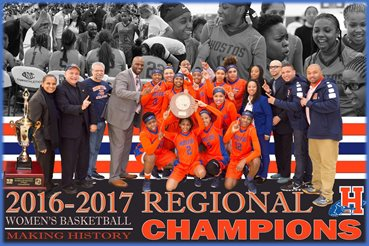 Hostos women's basketball team won its 25th straight game, after beating Borough of Manhattan Community College, 69-52, in the NJCAA Region XV title game